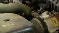 Old Car Engine Running Stock Footage