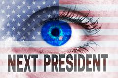 next president with usa flag and eye looks at viewer concept - stock photo