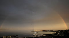 Rainbow in the background of the Caspian Sea Stock Footage