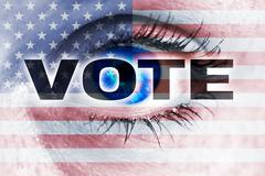 vote with usa flag and eye looks at viewer concept - stock photo