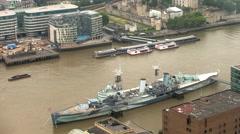 Timelapse london city skyline skyscrapers architecture warship hms belfast Stock Footage
