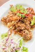 Deep fried soft shell crab Stock Photos
