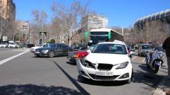 Car crash on a Castellana street in Madrid near to stadium Santiago Bernabeu Stock Footage