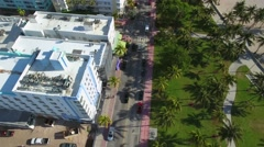 Aerial video of a truck driving on Ocean Drive Stock Footage