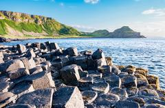 Giants Causeway and cliffs in Northern Ireland Stock Photos