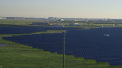 Solar Panel Farm at Airport Stock Footage