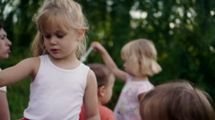 Little Children Playing in Park and Making Bubbles Stock Footage