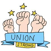 Strong union fists - stock illustration