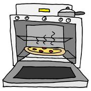 Oven baked pizza Stock Illustration