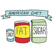 Fat sugar salt diet - stock illustration