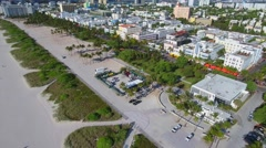 Beaches of Miami Deco Drive 4k aerial video - stock footage