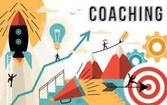 Coaching concept line art colorful modern design - stock illustration