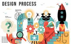 Stock Illustration of Design process flat line art concept infographic