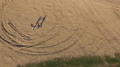 Aerial view of training a Wing Chun  on a sand in warm day Stock Footage