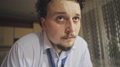 Face man addict alcoholic. Close up. Stock Footage