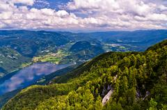 View from mountain Vogel to the lake Bohinj, slovenian alps, Slovenia - stock photo