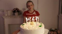 Happy children with birthday cake Stock Footage