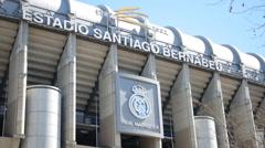 The stadium of Real Madrid Santiago Bernabeu Stock Footage