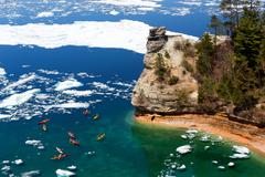Kayaks near Miners Castle on Lake Superior - Spring Thaw Stock Photos