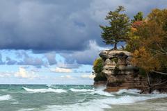 Chapel Rock and Lake Superior - Upper Peninsula of Michigan - stock photo