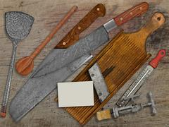 vintage set for cooking over wooden table - stock photo