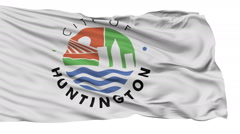 Isolated Waving National Flag of Huntington City, West Virginia - stock footage