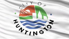 Closeup Waving National Flag of Huntington City, West Virginia - stock footage