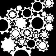 Black gears mechanism background. - stock illustration