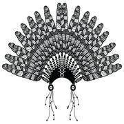 Headdress with zentangle feathers - stock illustration