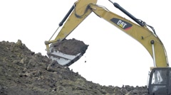 RUSSIA ST.PETERBURG- Excavator is digging the ground Stock Footage