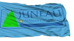 Isolated Waving National Flag of Juneau City, Alaska - stock footage