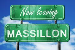 Stock Illustration of Leaving massillon, green vintage road sign with rough lettering