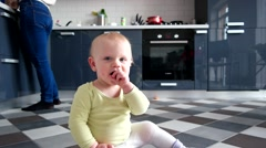 An Adorable Little Baby Boy Playing on the Home Stock Footage