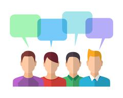 People Icons with Dialog Bubbles Stock Illustration