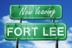 Leaving fort lee, green vintage road sign with rough lettering - stock illustration