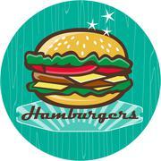 Retro 1950s Diner  Hamburger Circle Piirros