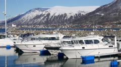 Nice view of the yachts and mountains in northern Norway. Stock Footage