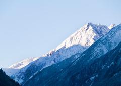 Early morning view on Stubai Alpen peak - stock photo