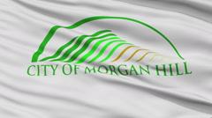 Closeup Waving National Flag of Morgan Hill City, California - stock footage