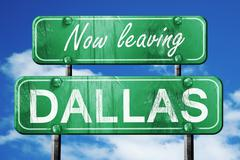 Leaving dallas, green vintage road sign with rough lettering Stock Illustration