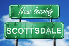 Stock Illustration of Leaving scottsdale, green vintage road sign with rough lettering