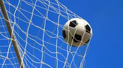 Soccer ball in goal Stock Photos