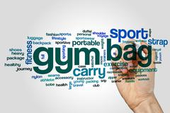 Gym bag word cloud concept - stock photo