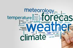 Weather forecast word cloud - stock photo