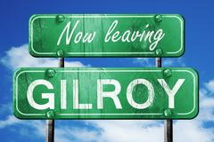 Stock Illustration of Leaving gilroy, green vintage road sign with rough lettering