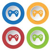 Set of four icons - gamepad Stock Illustration