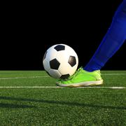 Kicking the soccer ball Stock Photos