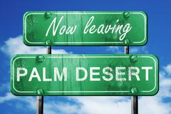 Leaving palm desert, green vintage road sign with rough letterin - stock illustration