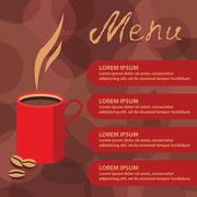 Corporate identity of menu cafe background coffee beans brown - stock illustration