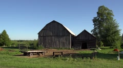 Scenic shot of Barn, Farm, and sky  Stock Footage